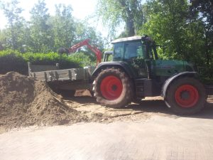 Afgraven tuin en zandafvoer